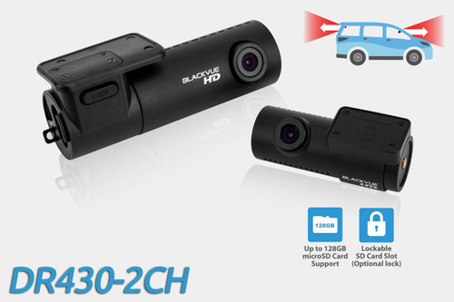 BlackVue DR430-2CH 720p HD dual-lens GPS-ready dash cam   For front and rear audio and video recording