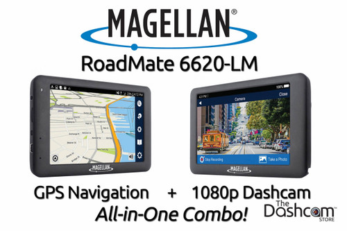 Magellan RoadMate 6620-LM GPS Navigation plus 1080p Video Dashcam All-in-one Combo