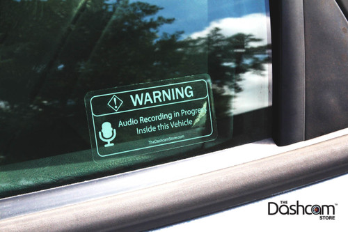 Transparent Warning Sticker | Audio Recording May Be In Progress In This Vehicle | On-Car Photo, Outside View