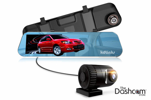 KDLINKS R100 Ultra HD 1296P Front + 1080P Rear Wide Angle Rearview Mirror Dual Lens Dash Cam Assembly