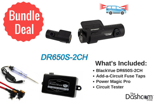 BlackVue DR650S-2CH Dash Cam DIY Bundle   Kit Includes Power Magic Pro, Circuit Tester and Fuse Taps   Install it Yourself!