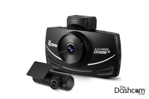 DOD Tech LS500W+ Full HD 1080p Front and Rear Dash Cam with GPS & WDR | Front and Rear Cameras Shown Angle 1