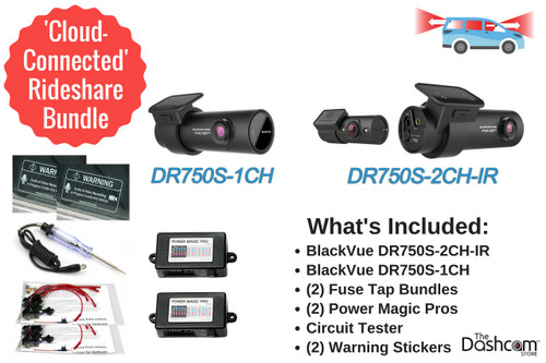 BlackVue Connected Rideshare Dashcam Bundle | DR750S 3-Channel System | Cloud-Connected Dashcam Bundle