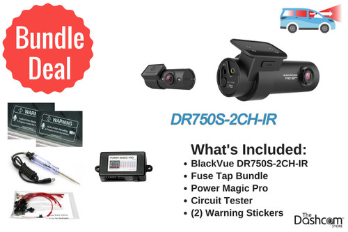 BlackVue DR750S-2CH-IR Dash Cam DIY Bundle | Kit Includes Power Magic Pro, Circuit Tester and Fuse Taps | Install it Yourself!