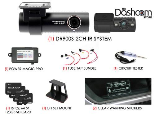 BlackVue DR900S-2CH-IR 4K Dual Lens Dashcam DIY Bundle | Full Installation Kit Contents