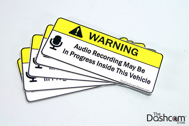 Warning Sticker - Audio Recording May Be In Progress In This Vehicle - Copyright © 2015 The Dashcam Store™ | Bundle