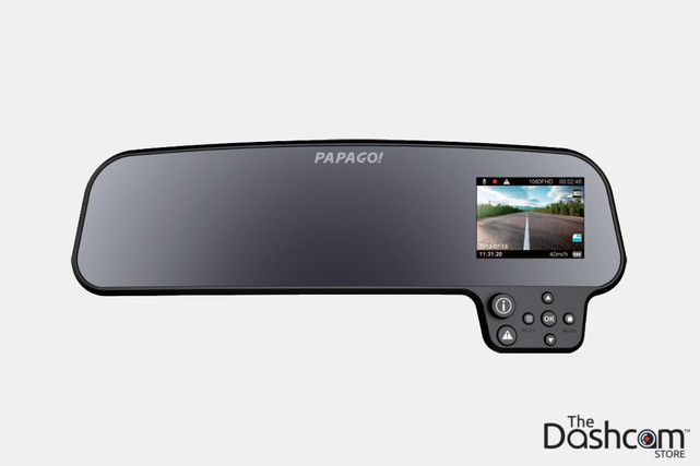 PAPAGO! GoSafe 260 Rear View Mirror Style Single Lens 1080p Stealth Dashcam | Front View Display Visible
