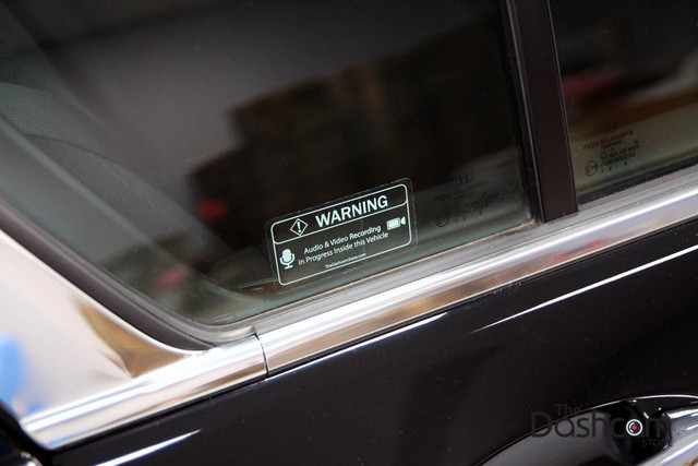 Transparent Warning Sticker | Audio and Video Recording May Be In Progress In This Vehicle | Inside-mounted version (mounts inside glass surface) View from the Left Close Up