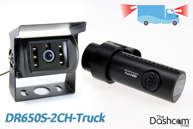 BlackVue DR650S-2CH-Truck 1080p Full HD dual-lens dash cam with GPS and waterproof rear camera, for trucks and commercial vehicles