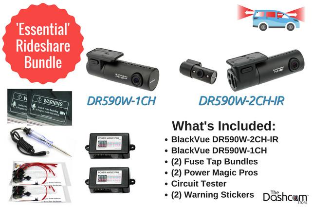 BlackVue Essential Rideshare Dashcam Bundle   DR590W 3-Channel System