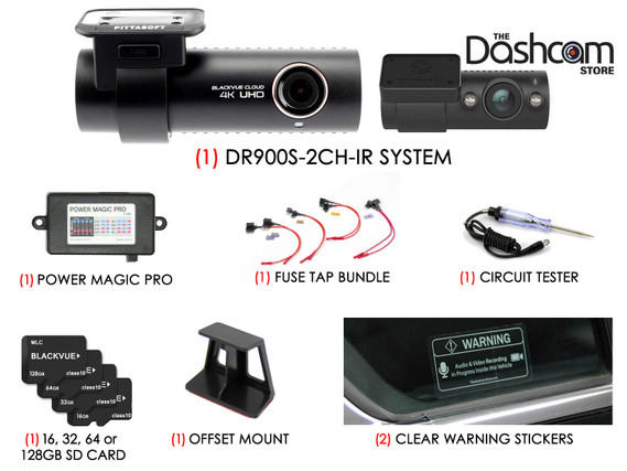 BlackVue DR900S-2CH-IR 4K Dual Lens Dashcam DIY Bundle