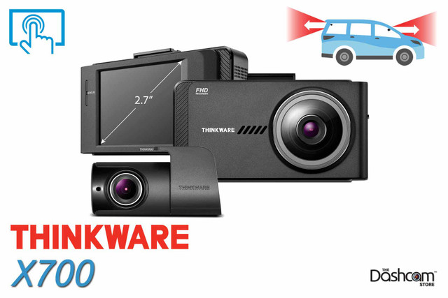 Thinkware X700 Full HD Dual Lens Dashcam | Touchscreen Display for Front & Rear Recording