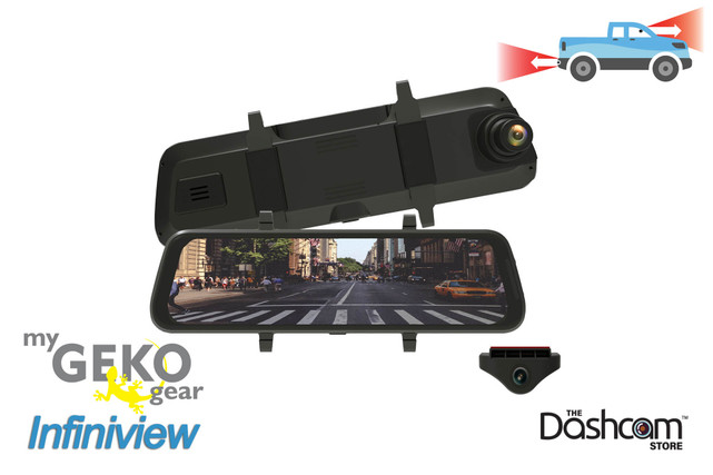 GEKO InfiniView Digital Rearview Mirror Dual Lens Dashcam | For Sale at The Dashcam Store