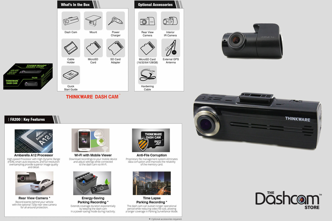fd1563acd67 ... Sale at  Thinkware FA200 Full HD 1CH or 2CH GPS-Ready WiFi Dashcam