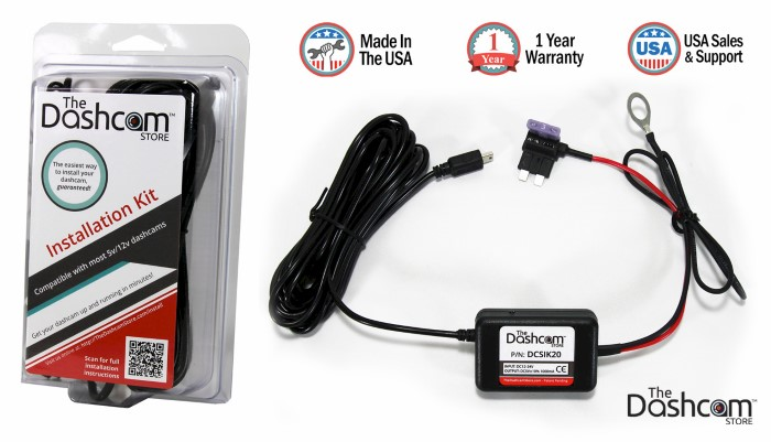 Dash Cam Installation Kit 12v fuse tap input to 5v output composite with packaging diagram image