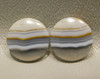 Brazilian Banded Agate Matched Pair Cabochons 15 mm Rounds #6