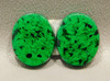 High Grade Maw Sit Sit Matched Pairs Ovals Cabochon Stones Green Jade #9