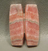 Pink Rhodochrosite Matched Pair Cabochon  bowed rectangle bar #13