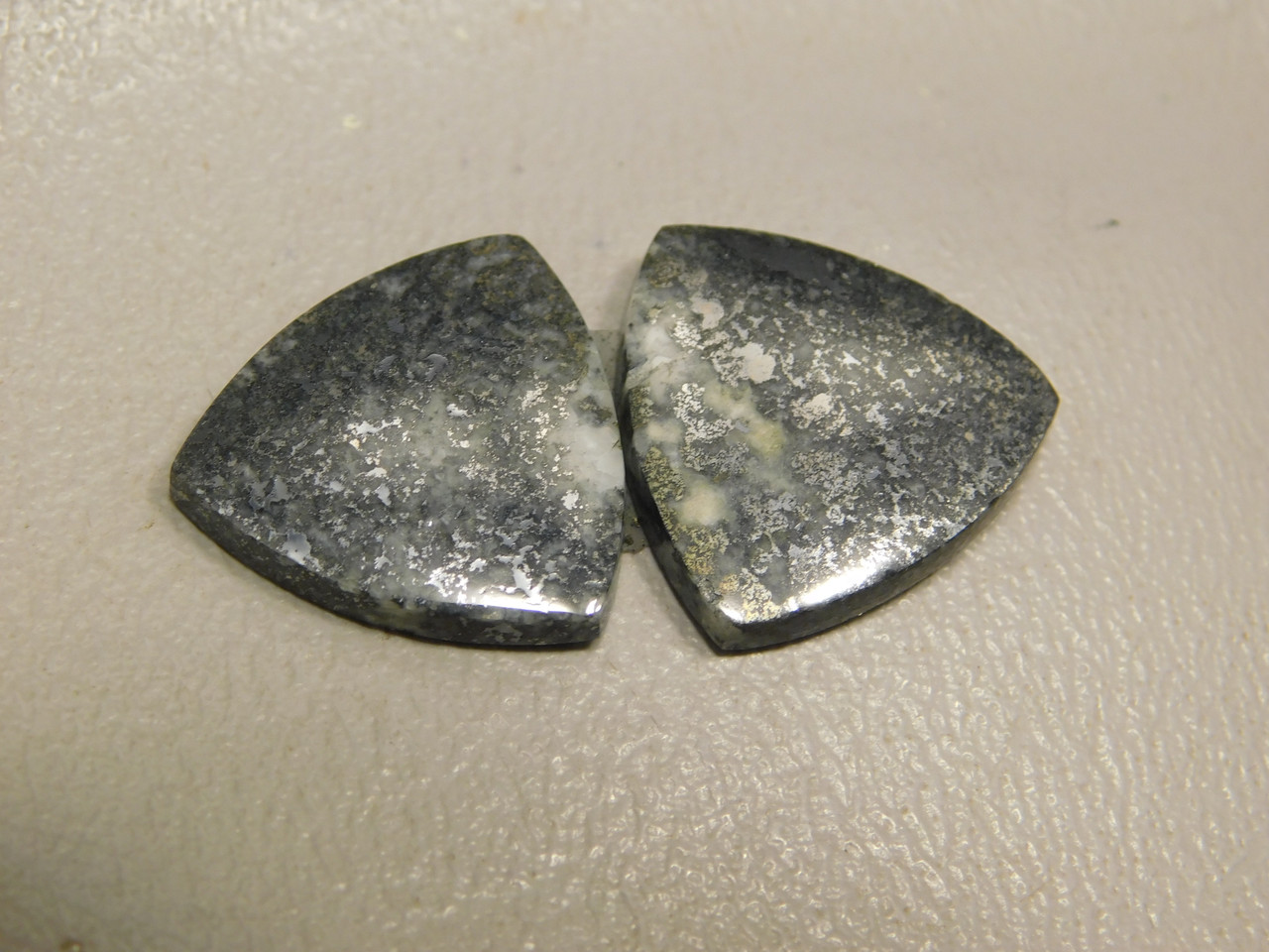 Mohawkite Stone Matched Pair Cabochons 18 mm Trillion Triangles #4