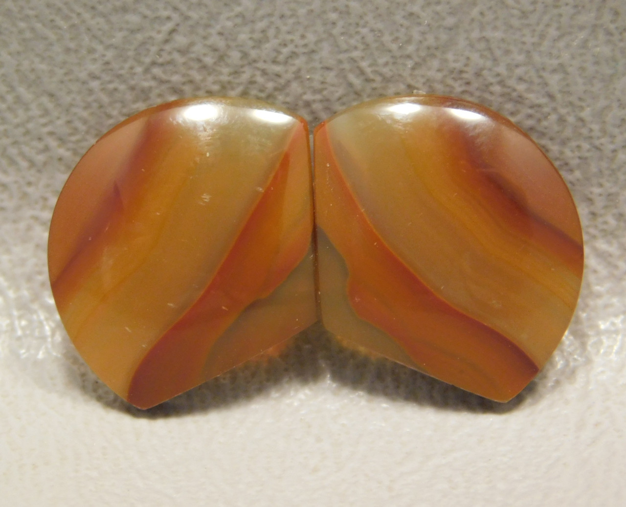 Brazilian Piranha Agate Matched Pair Cabochons Bar Gemstones #3
