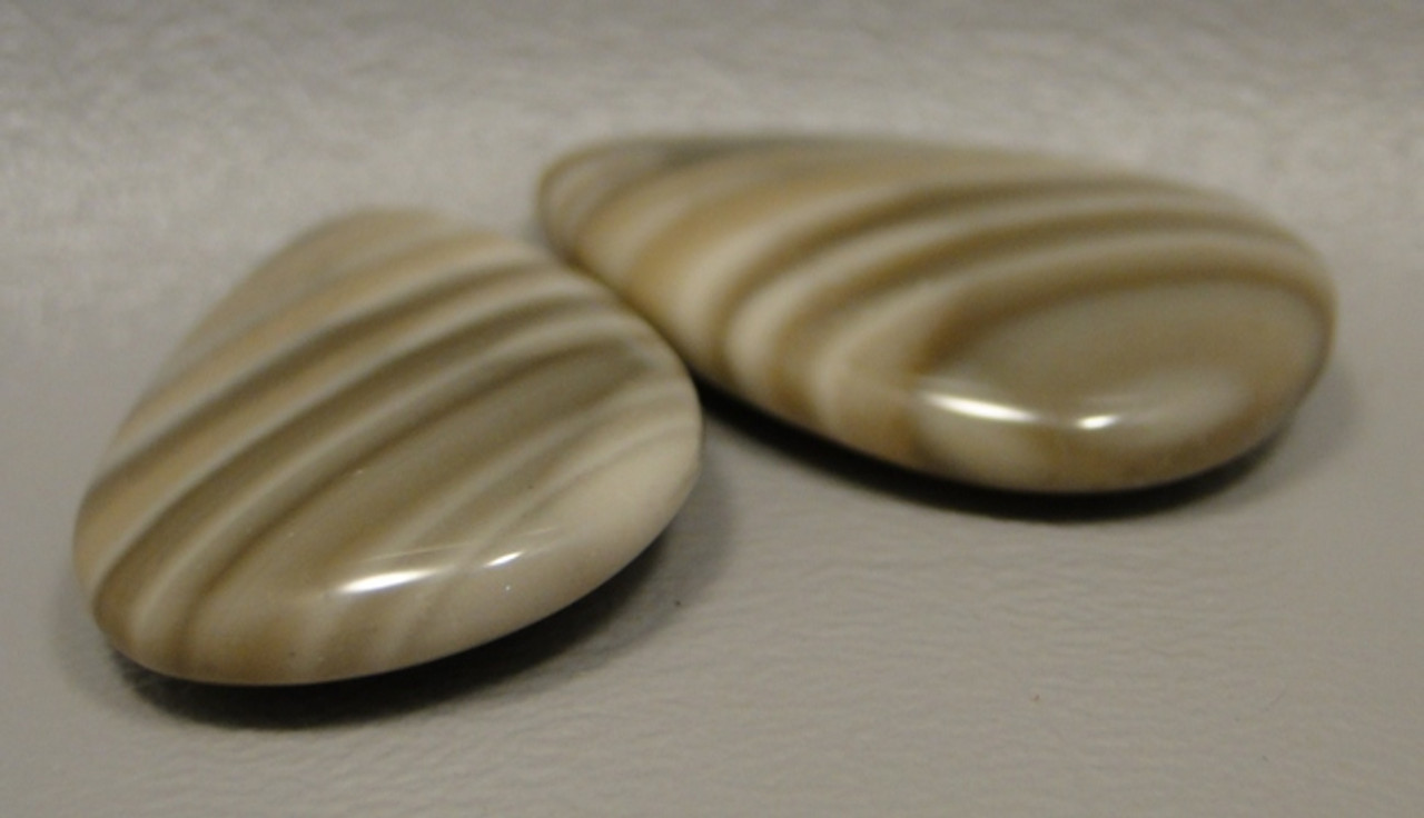Polish Flint Matched Pair Stone Cabochon Semi Precious Designer Gemstone 9-3