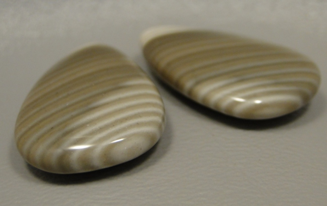 Polish Flint Matched Pair Stone Cabochon Semi Precious Designer Gemstone 10-3