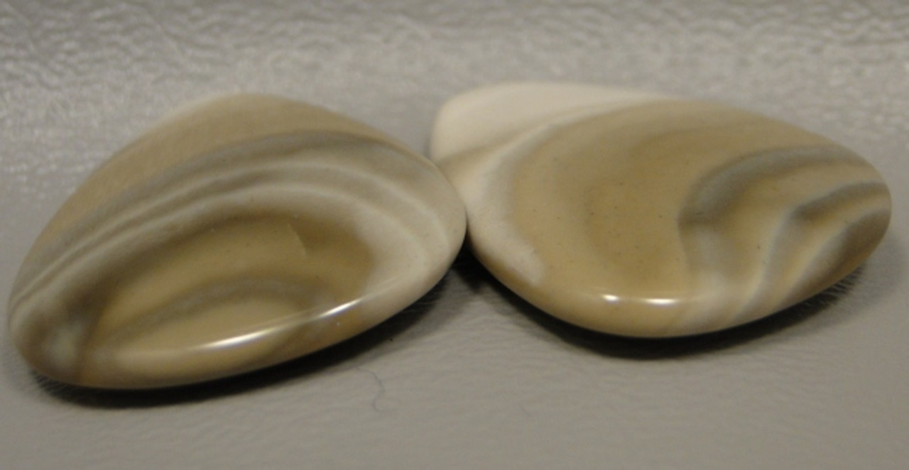 Polish Flint Matched Pair Stone Cabochon Semi Precious Designer Gemstone 6-3