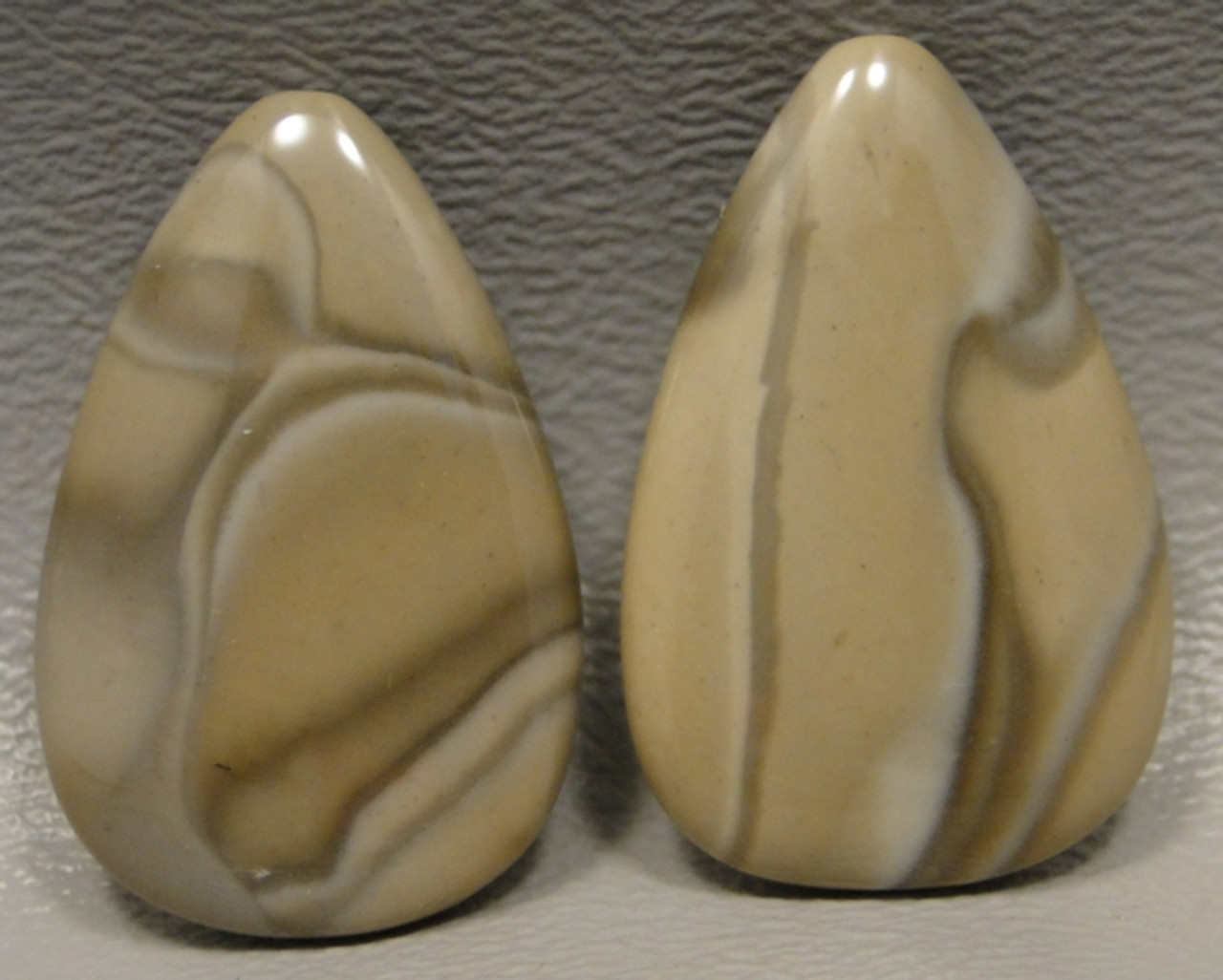 Polish Flint Matched Pair Stone Cabochon Semi Precious Designer Gemstone 16-2