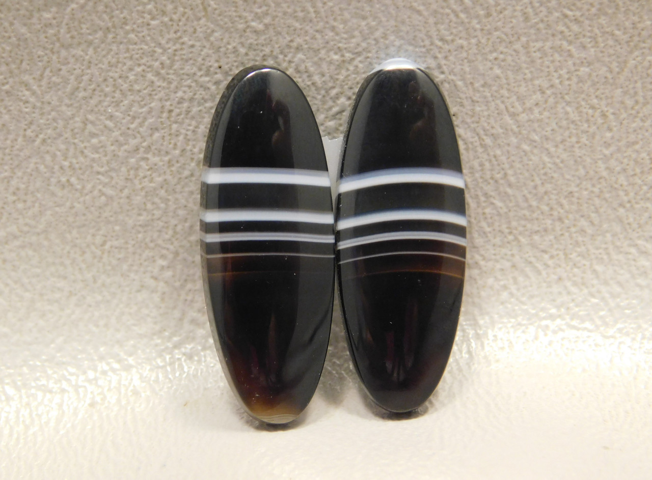 Tuxedo Agate Black White Matched Pair Stone Cabochons #7