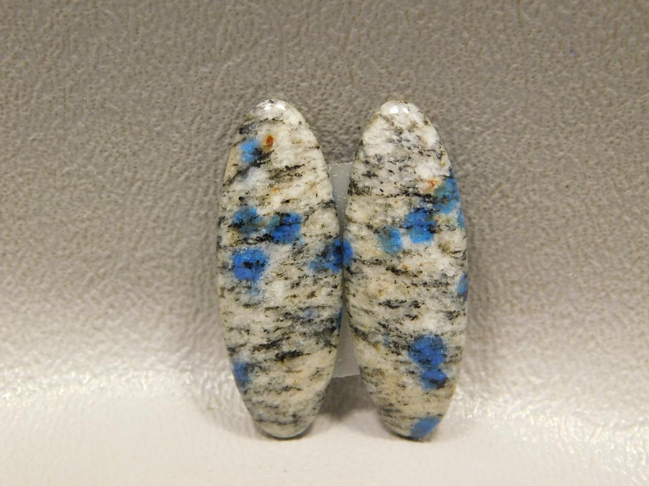 Designer Cabochons K2 Blue Spot Stone Semi Precious Matched Pairs 3
