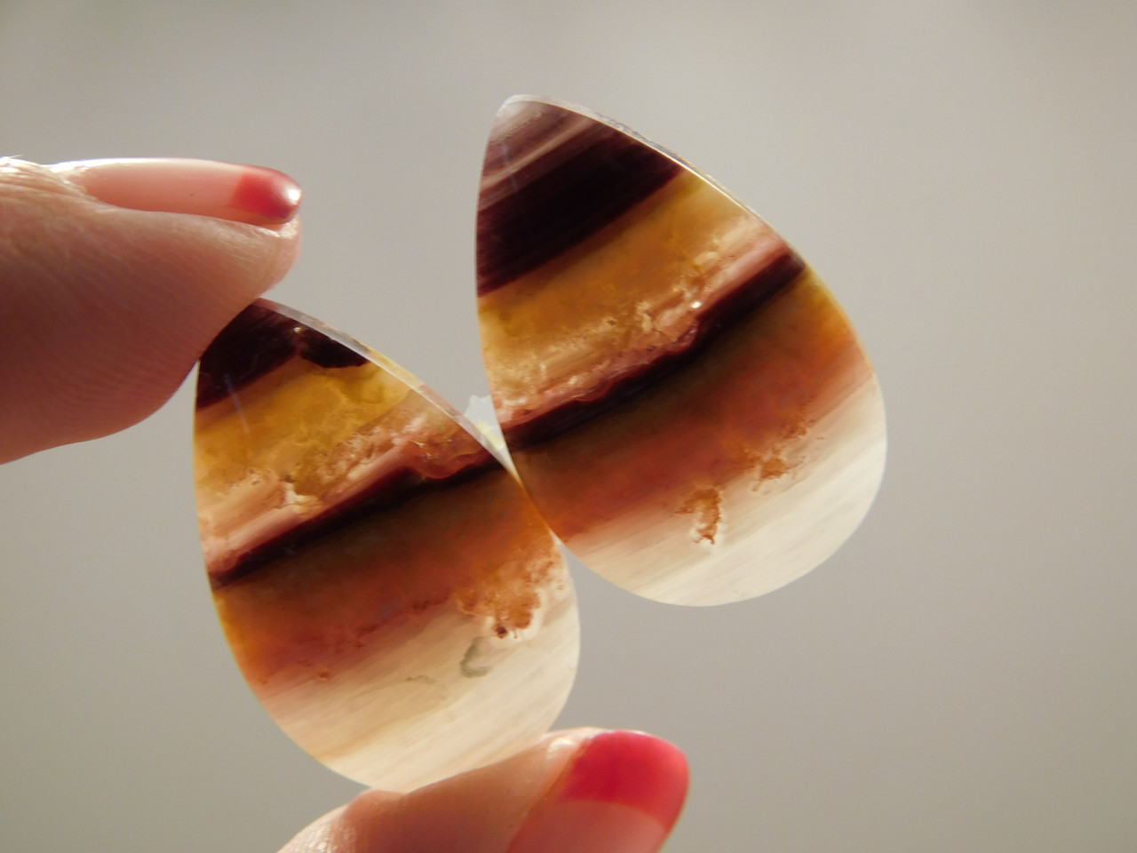 Candy Opal Matched Pair Fat Pears Cabochon Stones #17