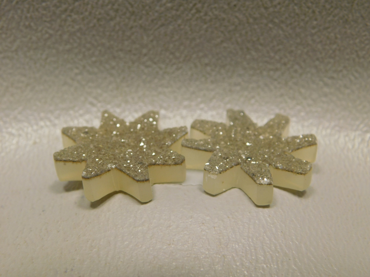 Agate Drusy Druse 19 mm Freeform Starburst Cabochon Matched Pair #4