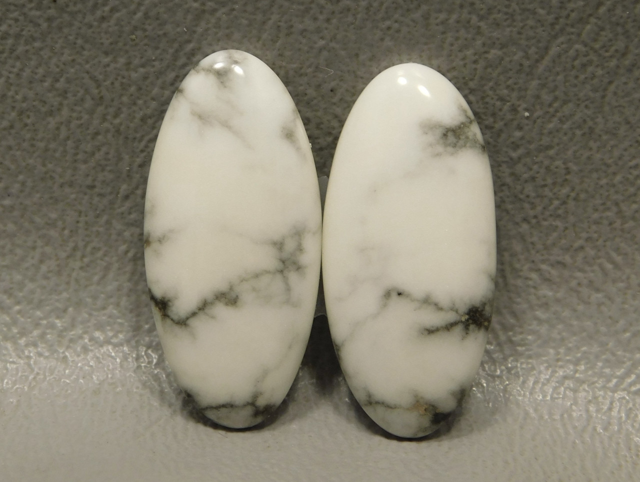 Cabochons Howlite Matched Pairs White Semiprecious Stones #9