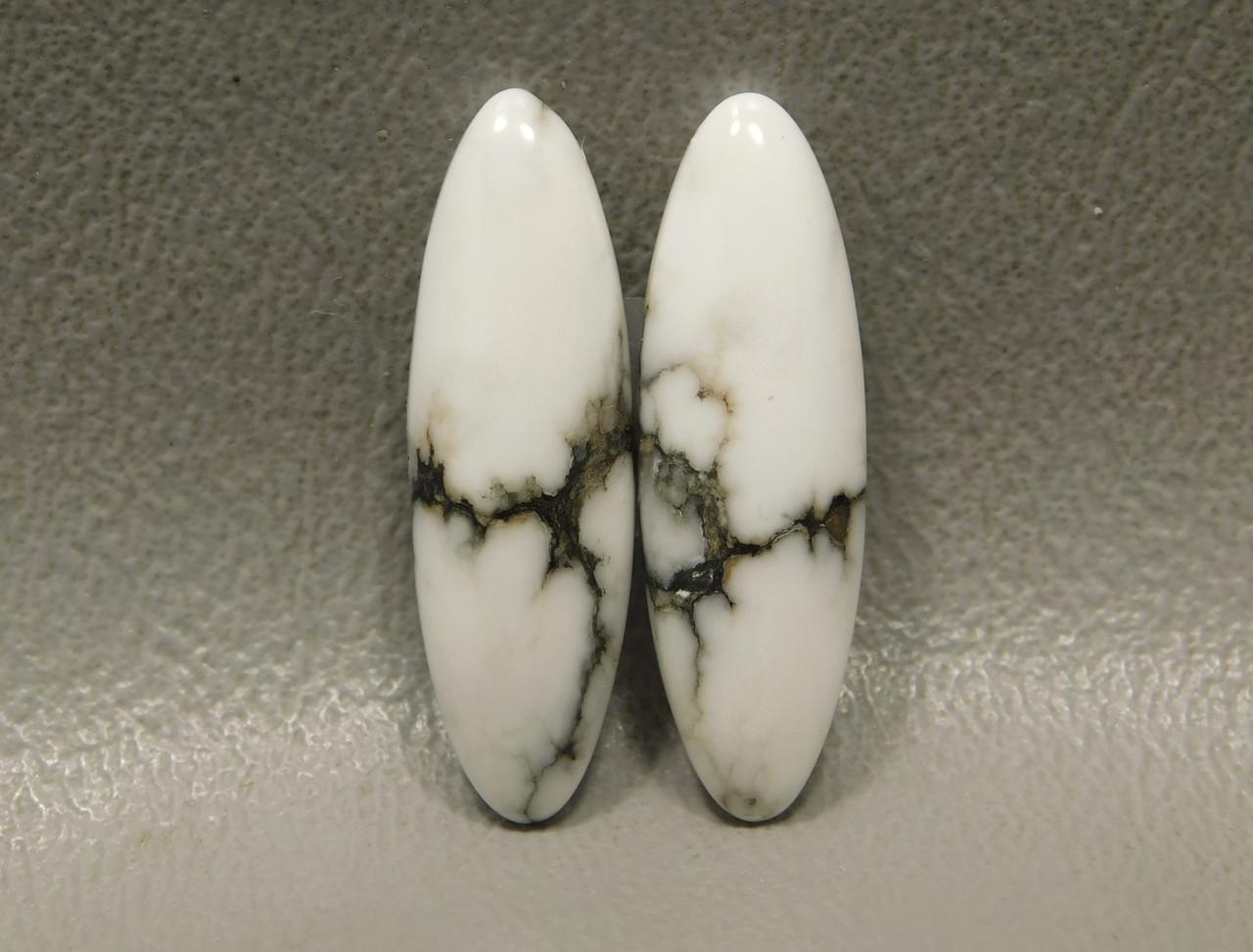 Cabochons Howlite Matched Pair Stones Designer Semi Precious Gemstones #10