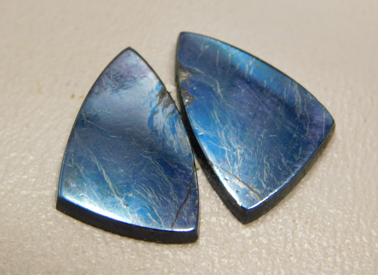 Covellite Matched Pair Triangles earring Stones Cabochons #12