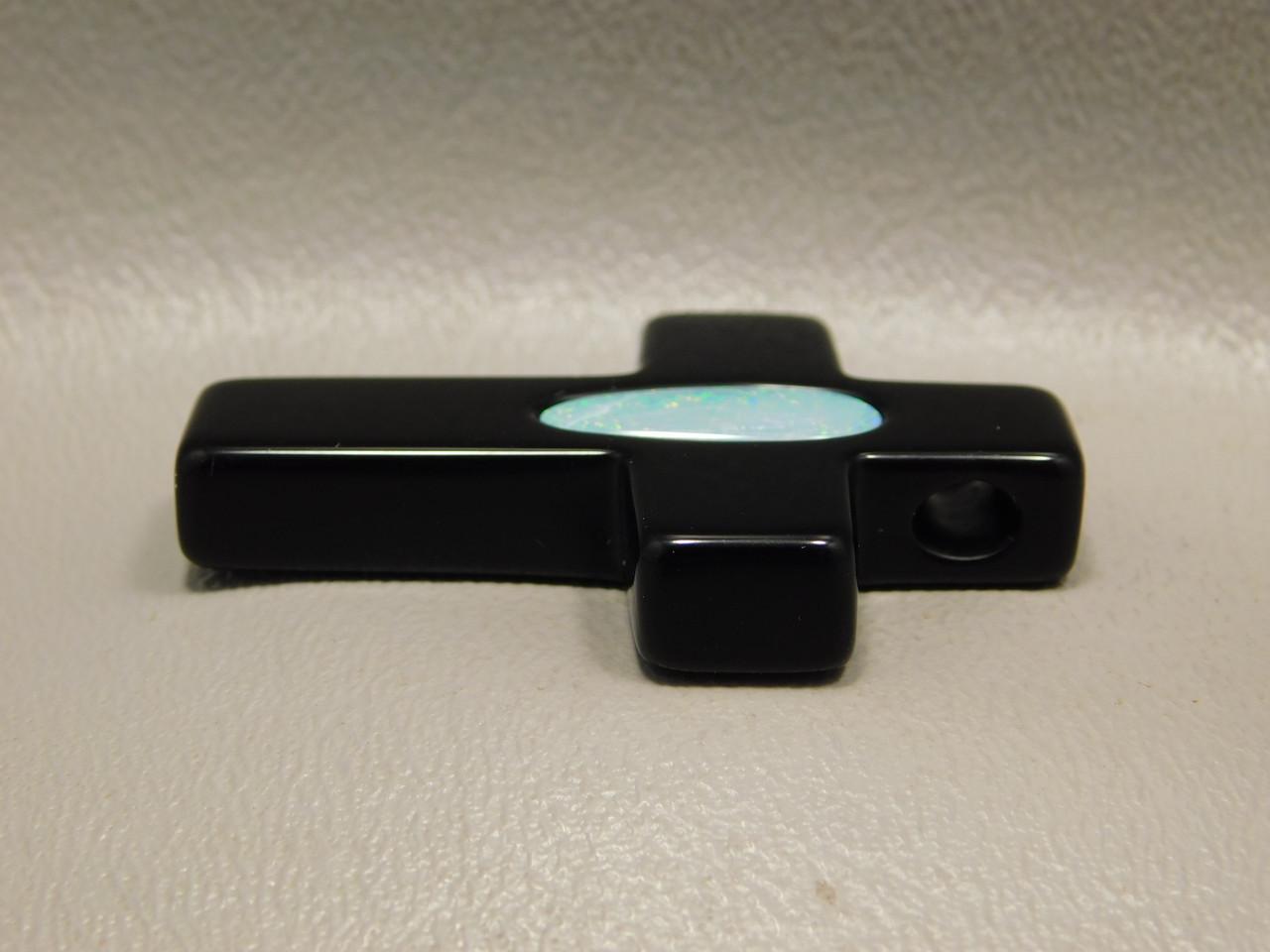 Black Agate and Opal Gemstone Cross Bead Pendant #1
