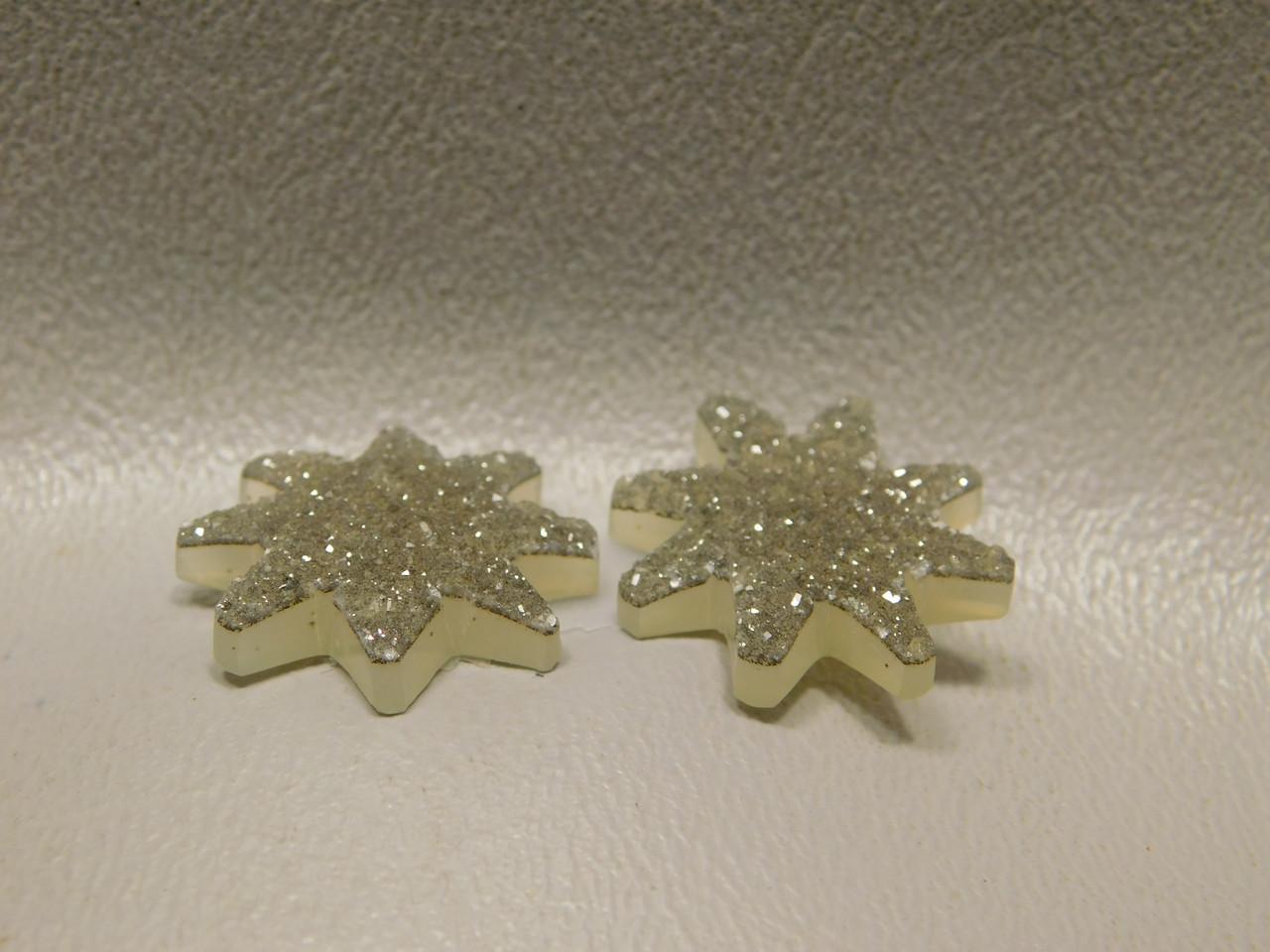 Agate Drusy Druse Crystal 23 mm Custom Cut Star Cabochons Pair #7
