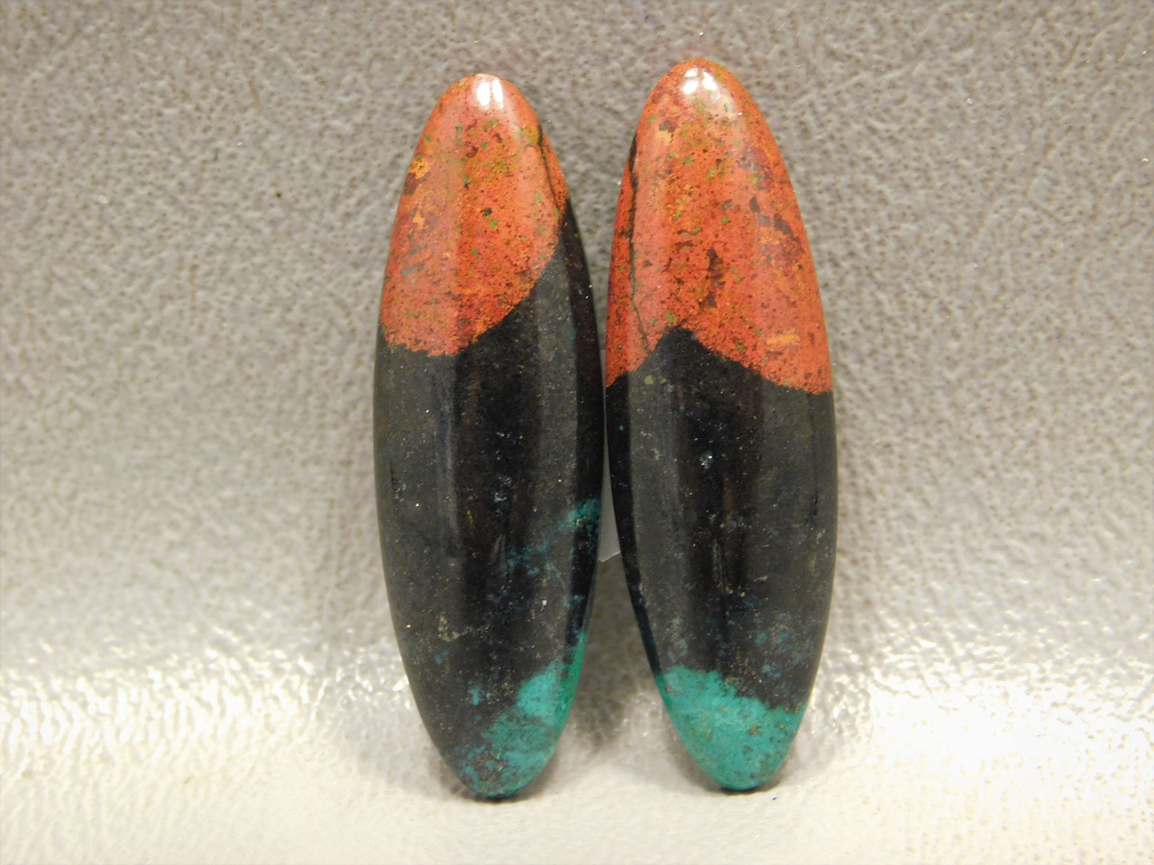 Sonora Sunset Chrysocolla Cuprite Designer Cabochons Matched Pair #11