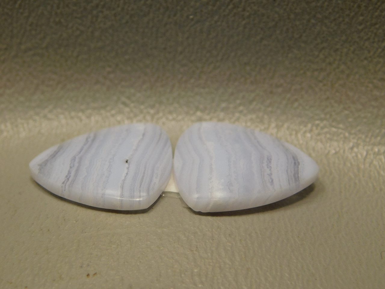 Blue Lace Agate Matched Pair Triangles Gemstone Cabochons #5