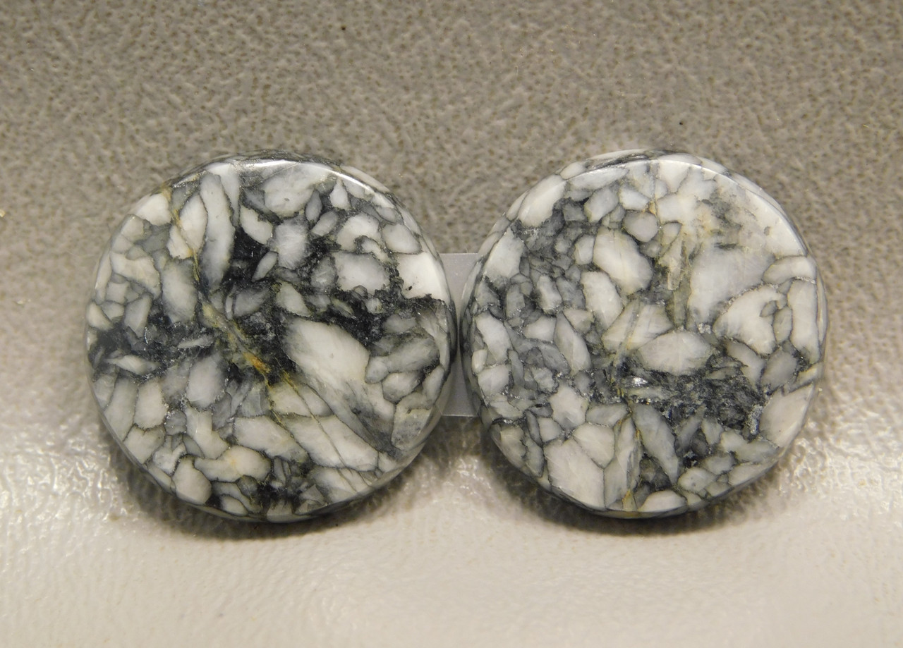 Pinolith or Pinolite 20.5 mm Rounds Matched Pair Stone Cabochons #5