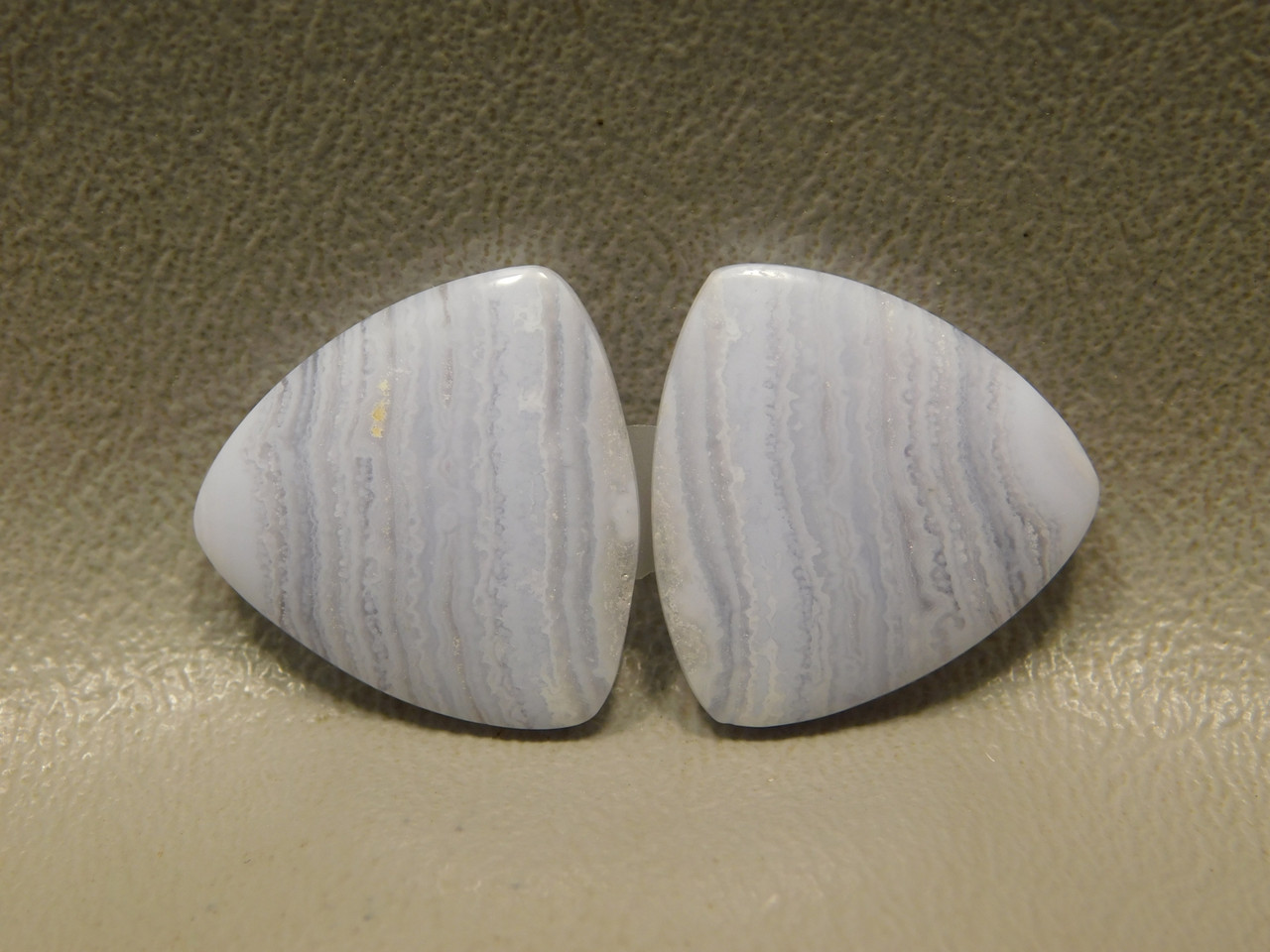 Blue Lace Agate Matched Pair 20 mm Trillion Gemstone Cabochons #6