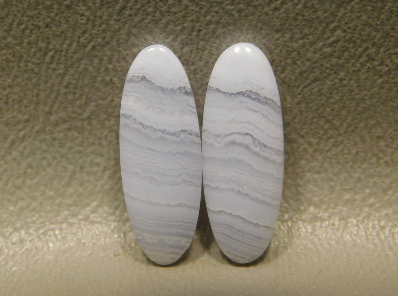 Blue Lace Agate Matched Pair Thin Ovals Gemstone Cabochons #7