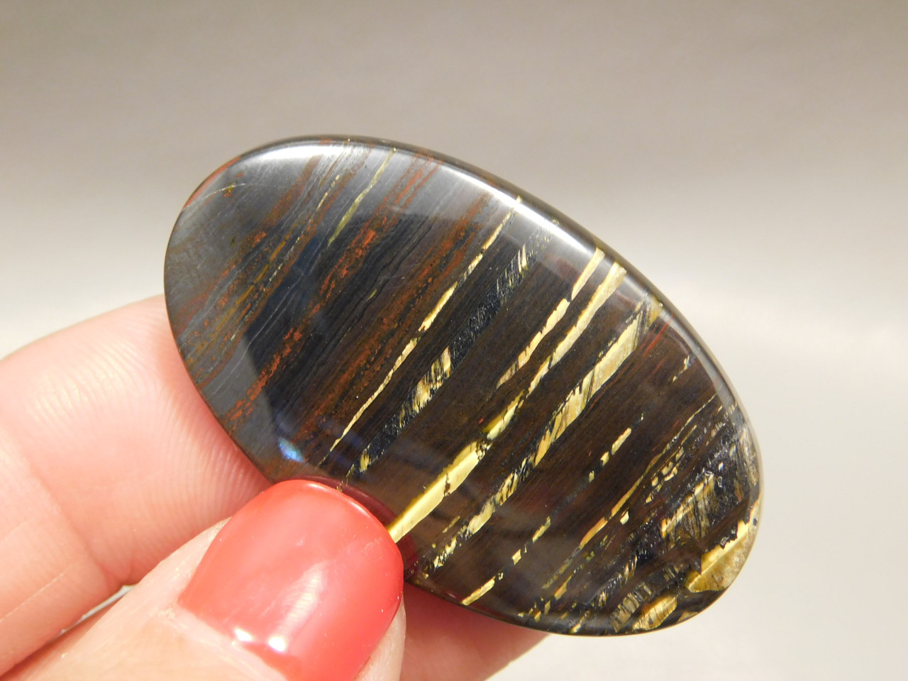 Tiger Iron Semi Precious Gemstone Designer Cabochon #7