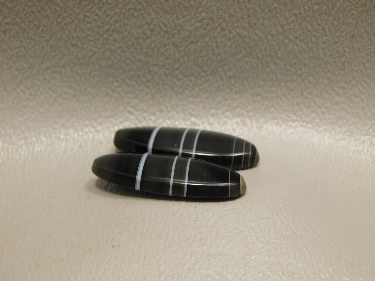 Tuxedo Agate Black White Striped Matched Pair Stone Cabochons #17