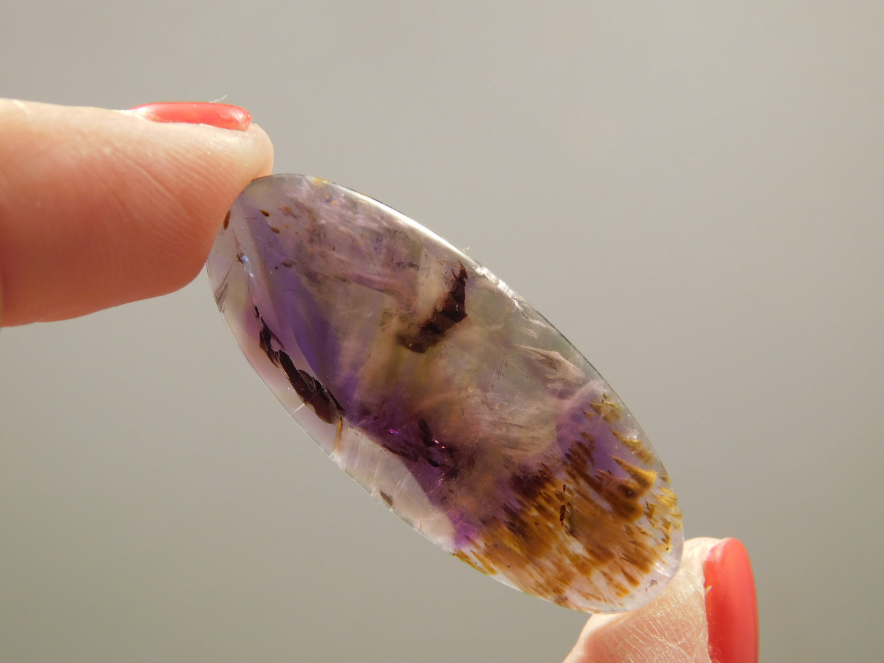 Cacoxenite Amethyst Gemstone Cabochon Healing Stone #8