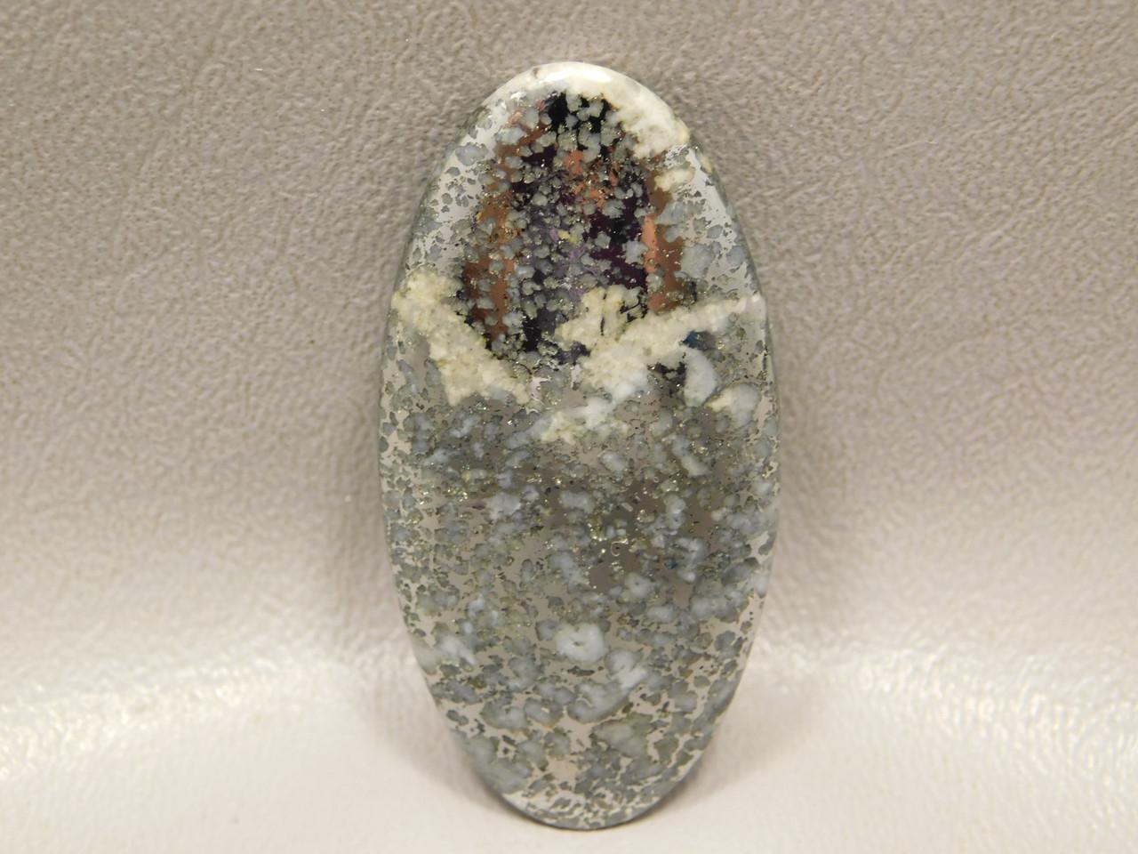 Mohawkite Stone Cabochons Shiny Gold Silver in White Quartz #21
