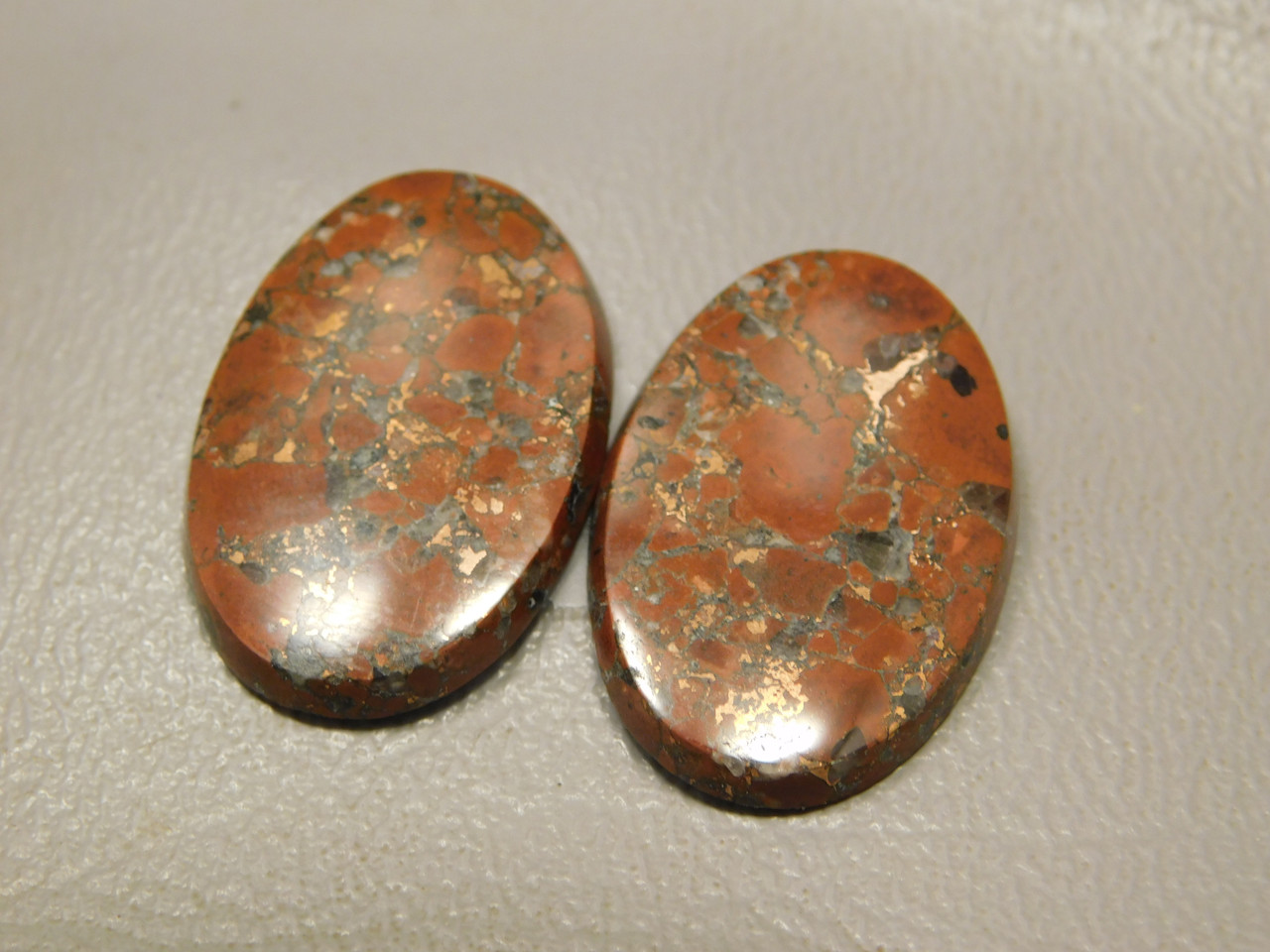 Natural Stone Copper Rose Matched Pair Red Cabochons #23