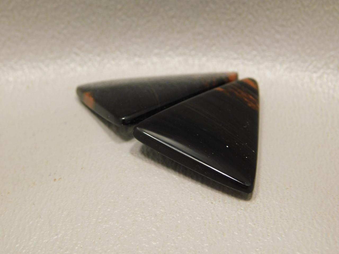 Matched Pairs Black Cabochons Mahogany Obsidian Jewelry Stones #19