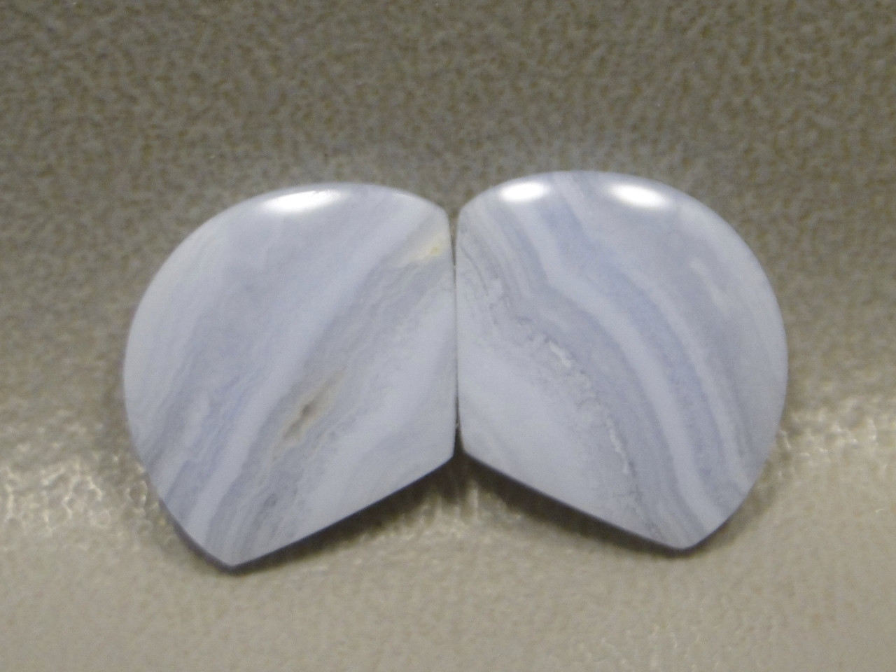 Blue Lace Agate Cabochons Matched Pair Designer Gemstone  #20
