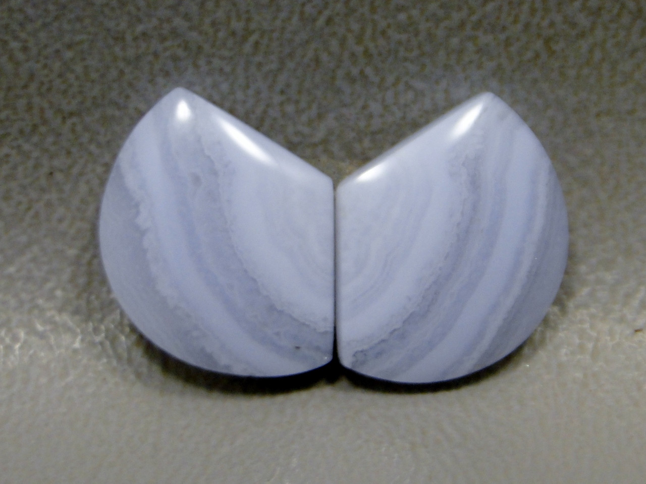 Cabochons Blue Lace Agate Matched Pair Shield Shape  #21